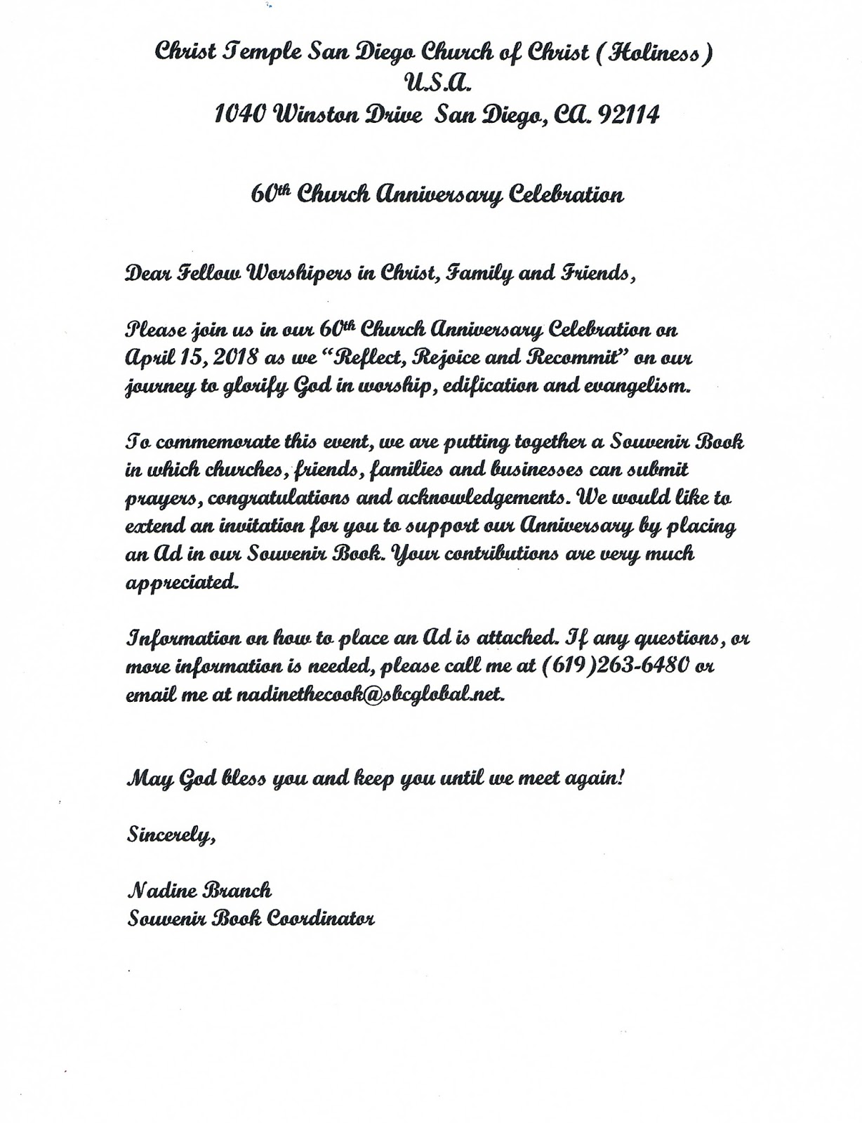 christ temple church of christ holiness usa cover letter for