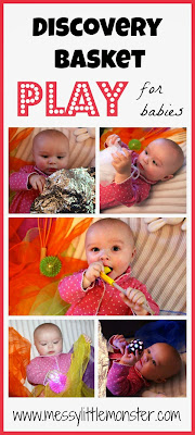 Playing with a discovery basket with your baby. Simple sensory play.
