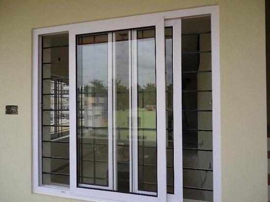 Jendela sliding uPVC warna putih