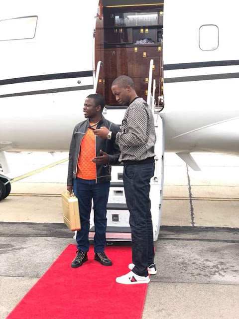 Photos: Prophet Uebert Angel joins Prophet Bushiri on one of his three private jets for a business trip to Malawi