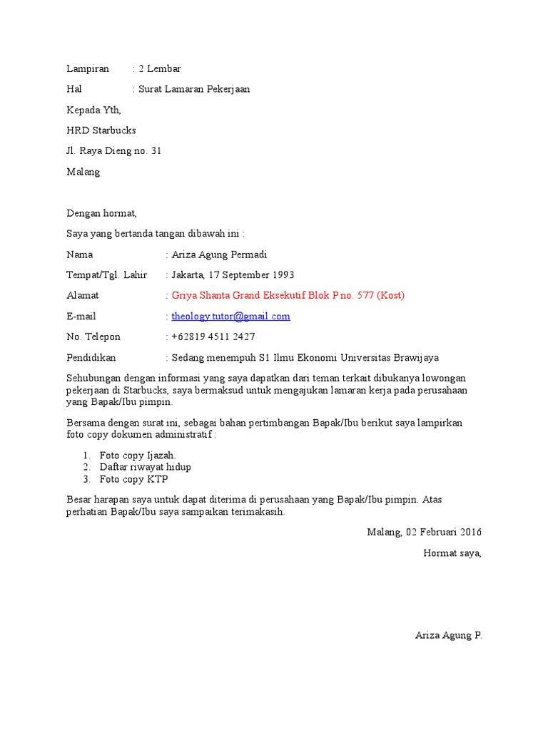 Contoh Surat Lamaran Kerja Barista Dan Tips Membuatnya Mamikos