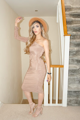 The Femme Luxe Beige One Shoulder Ruched Slinky Midi Dress in model Savannah.