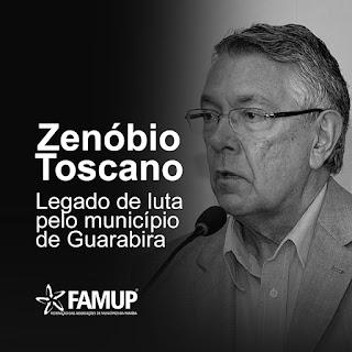 Famup lamenta morte de prefeito de Guarabira, Zenóbio Toscano e destaca atuação política.