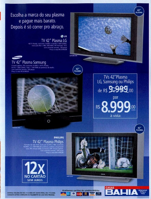 Anúncio das Casas Bahia com ofertas de televisores em 2006