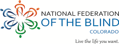 "National Federation of the Blind of Colorado logo including the words ""live the life you want"""