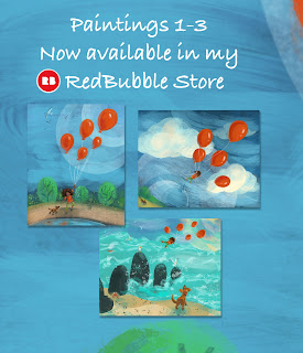Balloon Lift Off Series 1-3 available in my RedBubble Store, art by Traci Van Wagoner