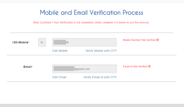 picture of mobile and email verification process screen