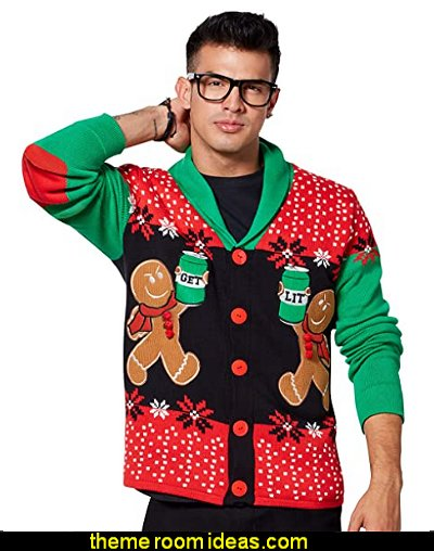 Gingerbread Ugly Christmas Sweater Cardigan Christmas decorations Christmas party cothes