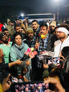 किसानों के सम्मान में युवक कांग्रेस ने निकाली मशाल रैली