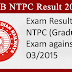 Railway RRB NTPC Result 2016 Published [CEN 03/2015]