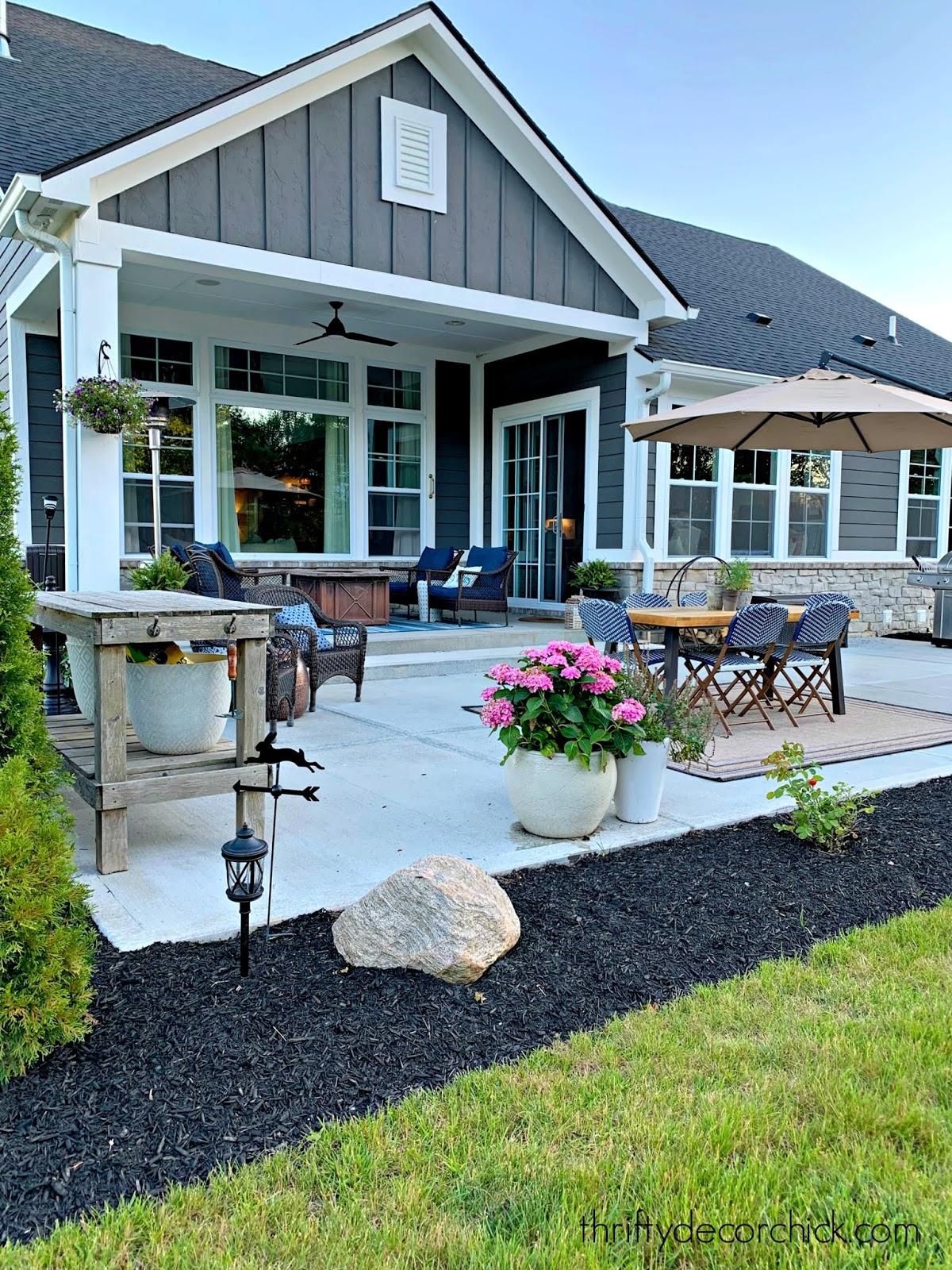 Large concrete backyard patio