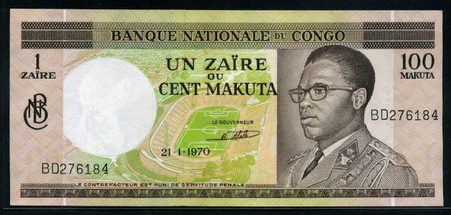 African Banknotes Congo 1 Zaire = 100 Makuta 1970 President Mobutu Sese Seko