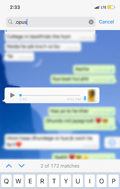 Find WhatsApp voice notes on iPhone