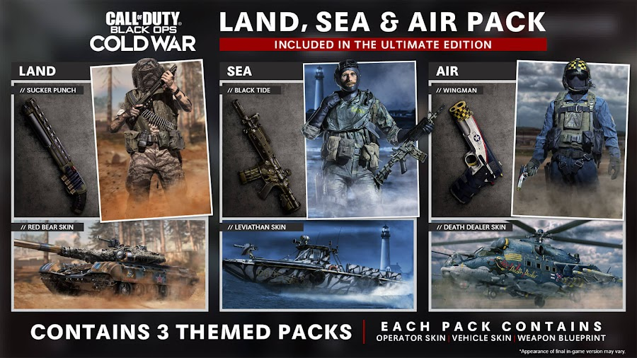 call of duty black ops cold war land sea air pack battle pass bundle pre-order bonus vehicle skins Operator weapon blueprints first-person shooter game reboot bo5 activision treyarch raven software pc playstation 4 ps4 playstation 5 ps5 xbox one xb1 xbox series x xsx
