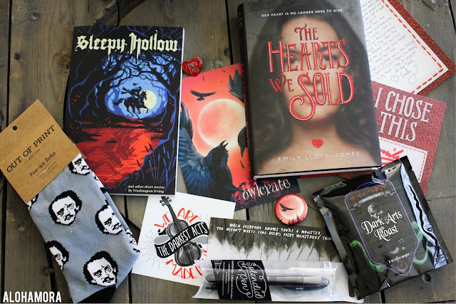 August Owl Crate, a YA Lit Subscription Box with teen books/reads.  This box gets 3.5 Stars.  It's a good box with Out of Print socks and 2 books to read.  Alohamora Open a Book alohamroaopenabook http://alohamoraopenabook.blogspot.com/