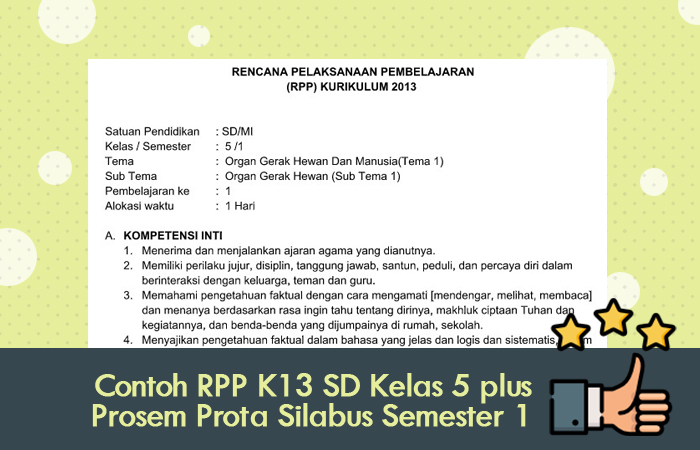 Contoh RPP K13 SD Kelas 5 plus Prosem Prota Silabus Semester 1