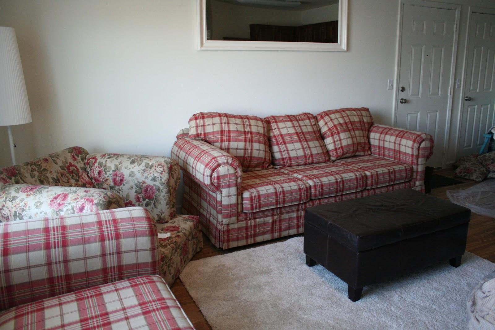 Plaid Sofa Slipcovers Ticking Stripe Slipcover Makeover