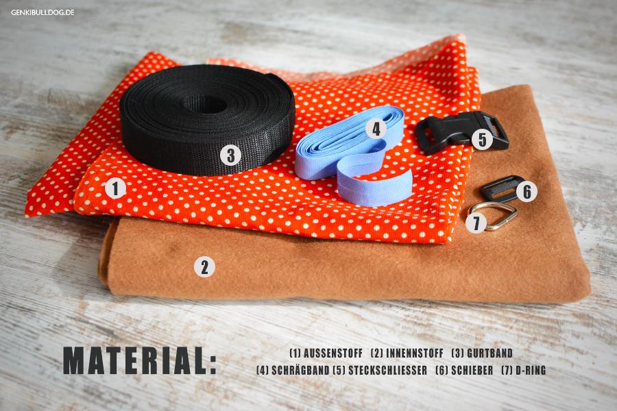 Benötigtes Material für Hundegeschirr aus Stoff Softgeschirr Nähanleitung