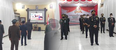 Di Tengah Pandemi, Dandim 0105/Abar Hadiri Upacara Hari Bhayangkara Ke - 75 Secara Virtual Di Polres Aceh Barat