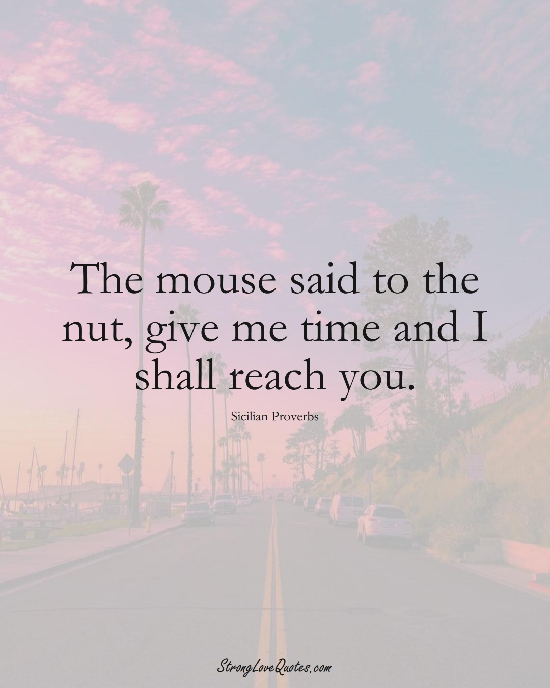 The mouse said to the nut, give me time and I shall reach you. (Sicilian Sayings);  #EuropeanSayings