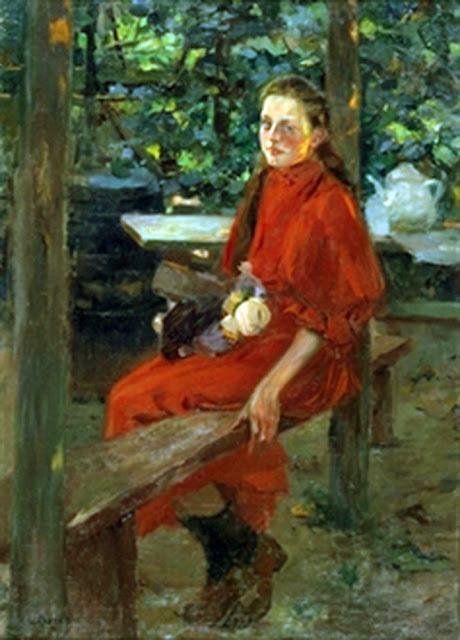 Joven en jardín, Laureano Barrau Buñol, Retrato de una mujer, Pintura española, Pintor Catalán, Retratos de Laureano Barrau Buñol