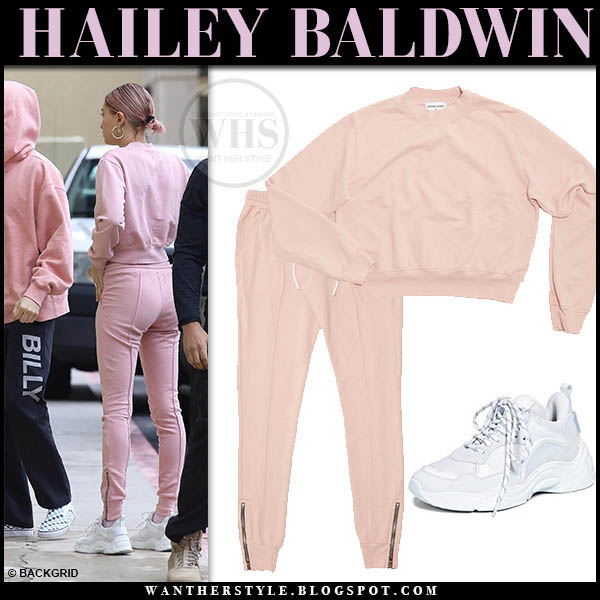 Hailey Baldwin in pink sweatpants, pink sweatshirt cotton citizen and white iro sneakers model street style january 15