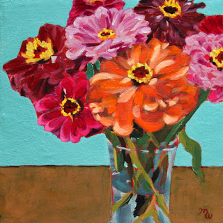A Burst of Zinnias by Pennsylvania artist Merrill Weber