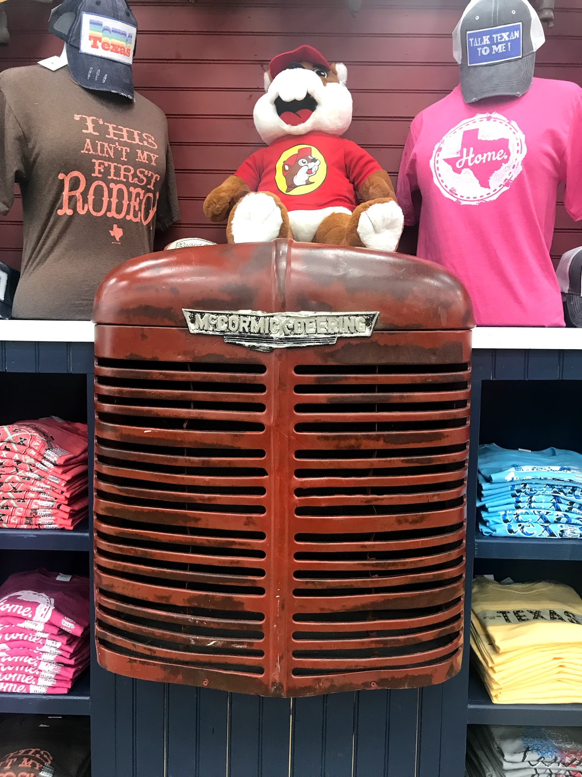 Image: truck front end with beavers and t-shirts being sold at Bucee gas station
