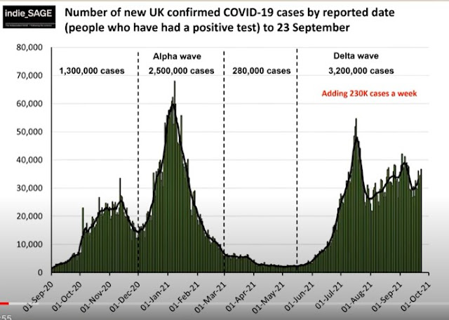 New UK cases by date indieSAGE 240921 chart