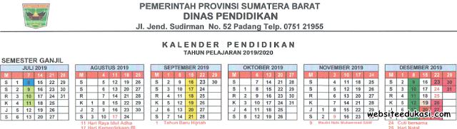 Kalender Pendidikan Sumatera Barat Tahun 2019/2020