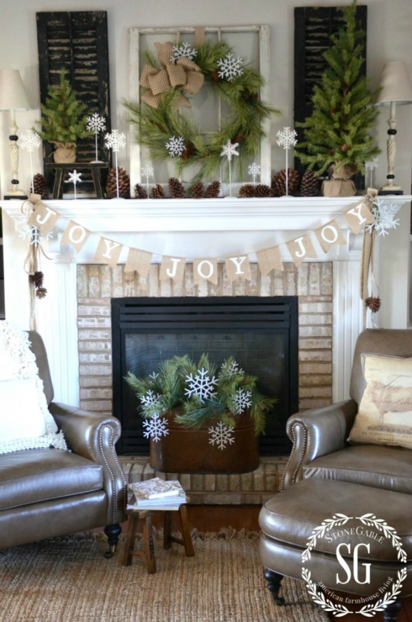 Country Farmhouse Christmas Mantel from Stone Gable Blog
