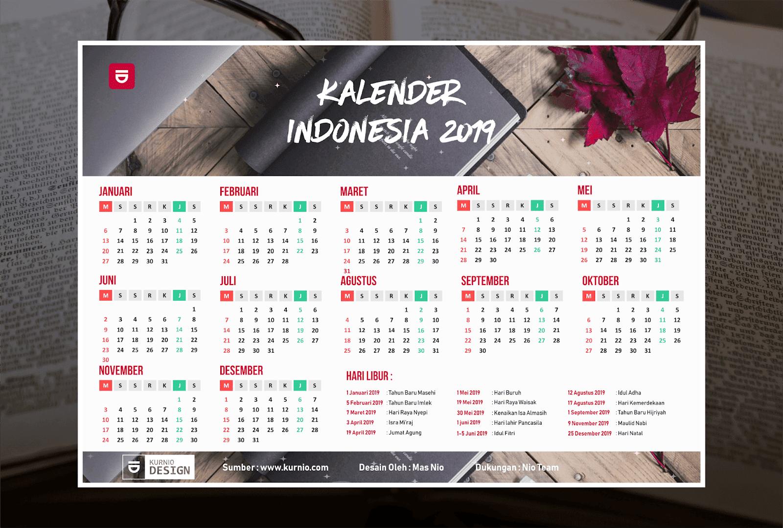 Kalender 2019 Vektor Lengkap Tanggal Merah Hijriyah Jawa Dan Indonesia