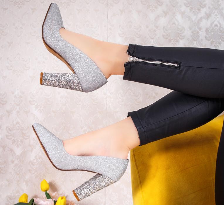Pantofi de zi / office cu toc gros si inalt ieftini modele noi 2020 la moda