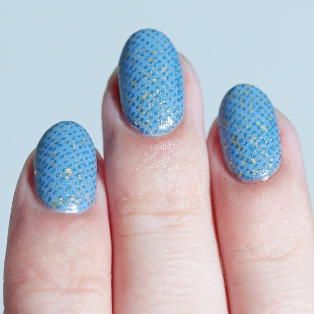 Supermoon Lacquer Blue Quasar stamped over Rogue Lacquer She's Stark Raving Mad using Lina Make Your Mark 01 plate