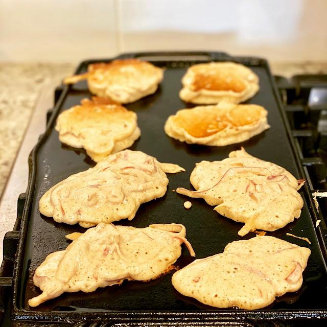 Apple Peel Pancakes on the Griddle