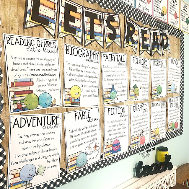 classroom library reading genre poster sets