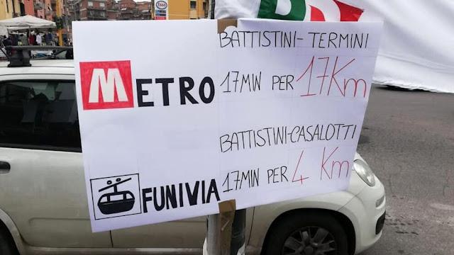 """Funivia, la protesta a Battistini: """"Vogliamo la metro fino al GRA"""""""