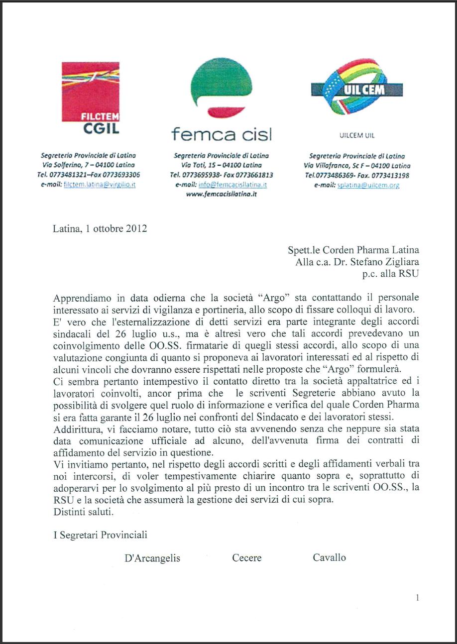 Ccnl chimico farmaceutico 2012