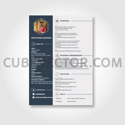 Download Desain CV Elegan Warna Navy CorelDRAW Free