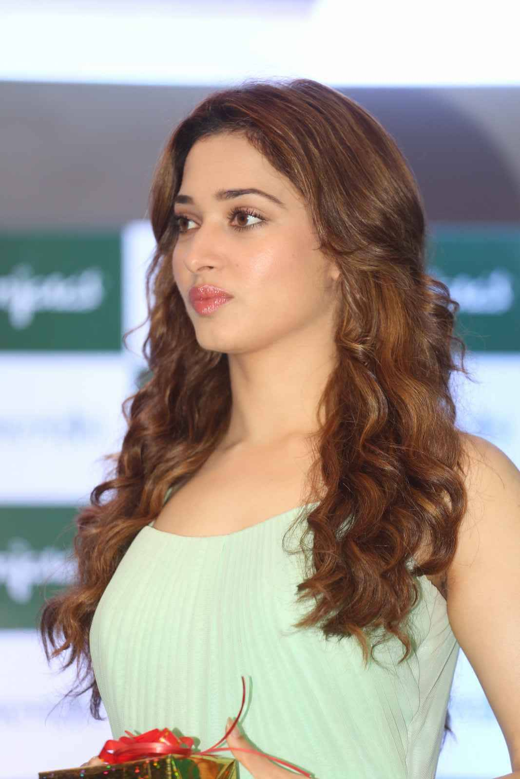 Tamanna Long Hair Smiling Photos In Green Dress