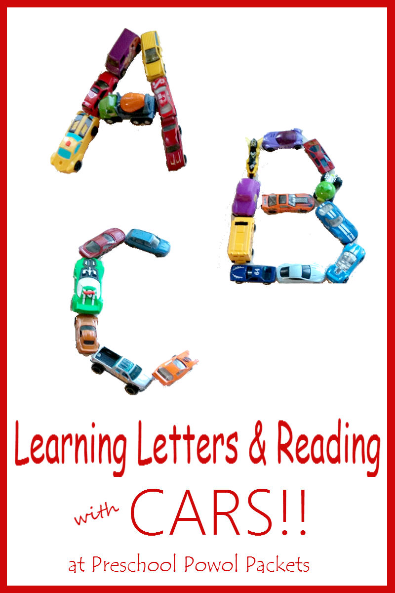 Learning Letters  Reading With Cars  Preschool Powol Packets