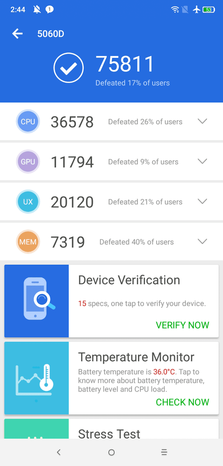 AnTuTu score of Alcatel 5V