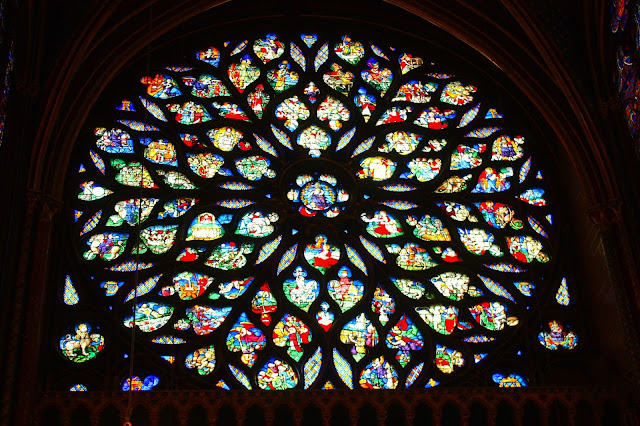 Stained glass window inside of Sainte Chapelle