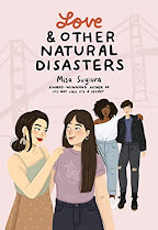 Cover image Love & Other Natural Disasters. It features two young women smiling at each other in the foreground and two young women near each other but looking a bit concerned while they are looking at the other couple.