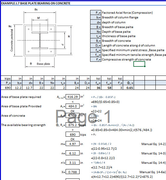 AISC Base Plate for Compression