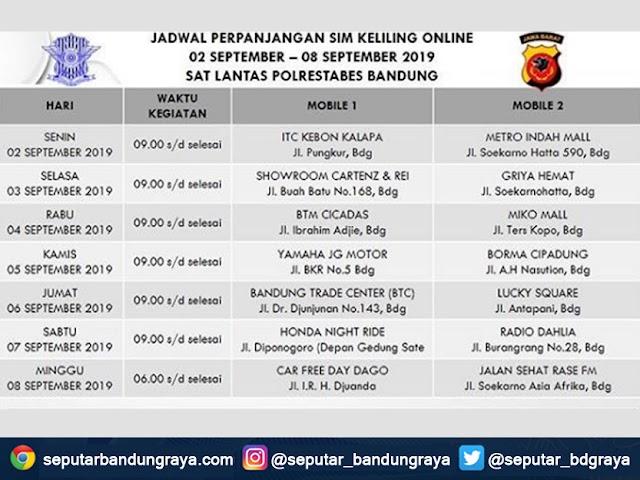 Jadwal SIM Keliling Polrestabes Bandung Bulan September 2019