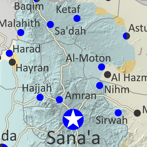 Map of what is happening in Yemen as of February 2020, including territorial control for the unrecognized Houthi government, president-in-exile Hadi and his allies in the Saudi-led coalition, the UAE-backed southern separatist Southern Transitional Council (STC), and Al Qaeda in the Arabian Peninsula (AQAP). Includes recent locations of fighting and other events, such as Nihm, Majzar, Yakla, and more.