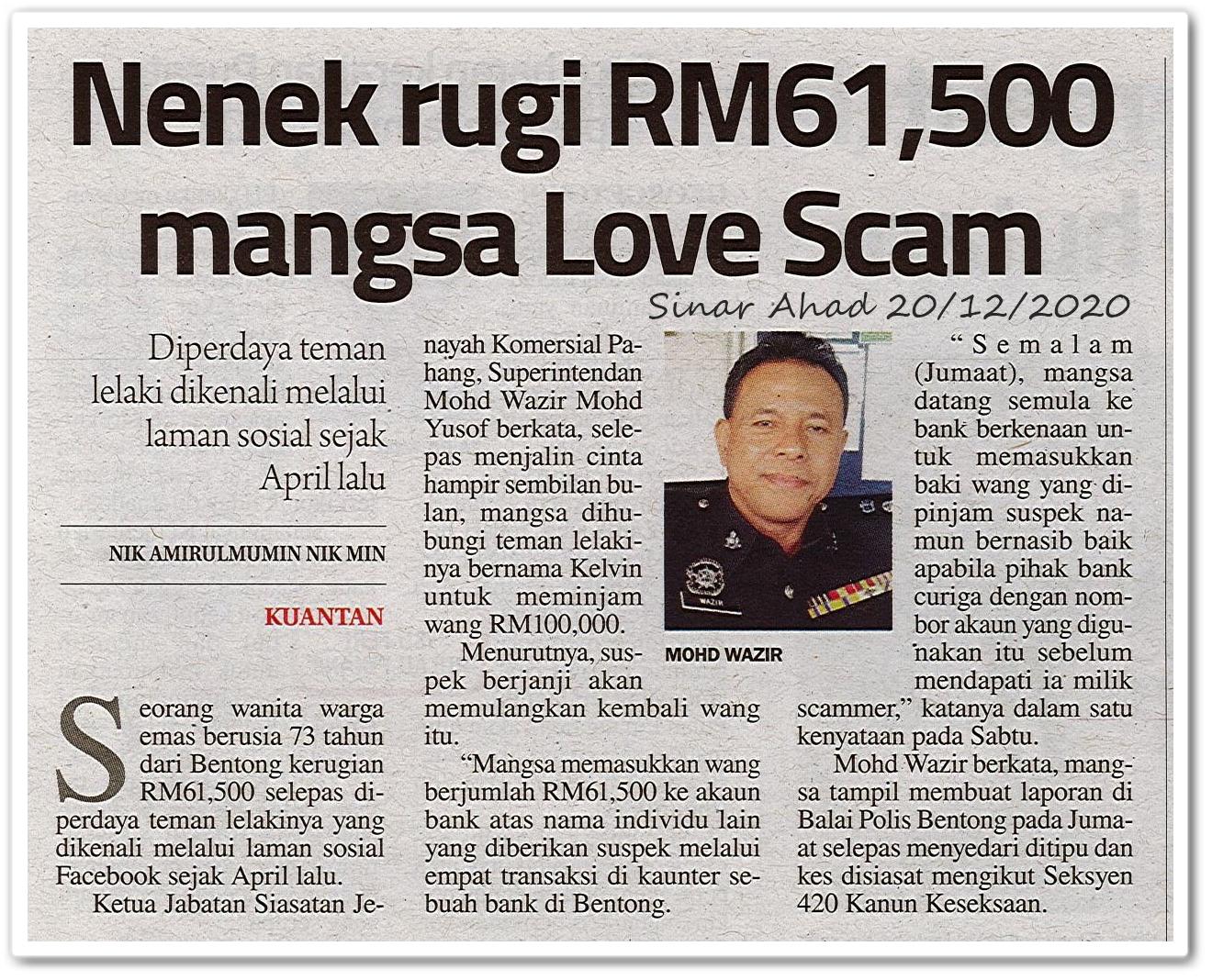 Nenek rugi RM61,500 mangsa Love Scam - Keratan akhbar Sinar Ahad 20 Disember 2020