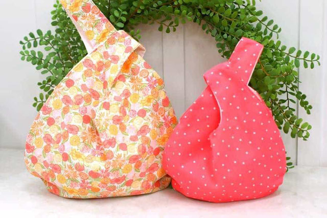 Learn how to make a Japanese Knot Bag. Free pattern & tutorial by The Happiest Camper.