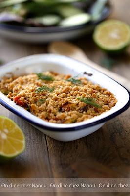 crumble facile , rapide , diner en famille , saumon , poireaux